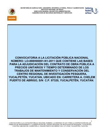 convocatoria a la licitación pública nacional número: lo ... - Inapesca