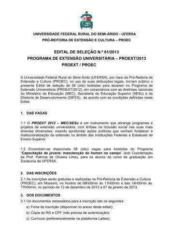 01-2013 Edital PROEXT-2013 Patrícia Lima 1 - Ufersa