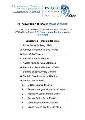 seleção para o curso de mestrado/2012 - Universidade Federal de ...