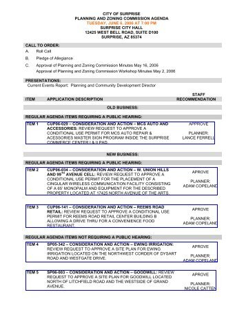 planning and zoning commission agenda - jun 06 ... - City of Surprise