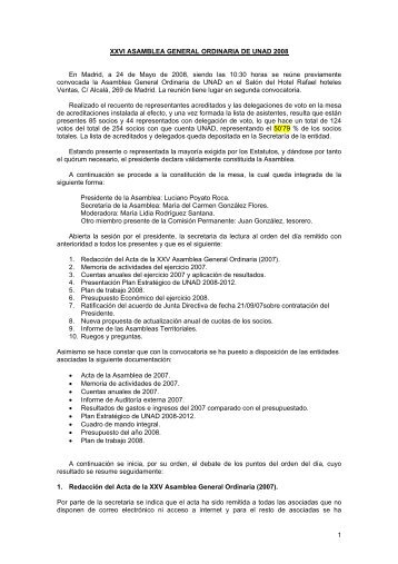 Acta Asamblea General Ordinaria 2008 - Unad