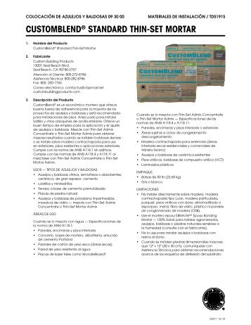 T CERAMIC TILE ADHESIVE Custom Building Products - Custom blend thin set mortar