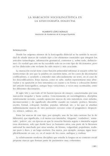 32. La marcación sociolingüística en la lexicografía dialectal, por ...