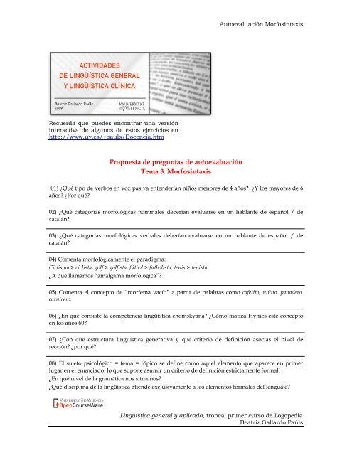 Propuesta De Preguntas De Autoevaluación Tema 3 Morfosintaxis