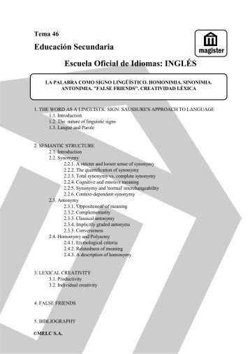 Educación Secundaria Escuela Oficial de Idiomas: INGLÉS - Magister