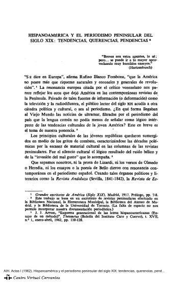 Hispanoamérica y el periodismo peninsular del siglo xix