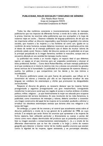 PUBLICIDAD, ROLES SOCIALES Y DISCURSO DE GÉNERO ... - UdG
