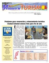 Boletín Informativo 3-8-2011 - Ministerio de Turismo