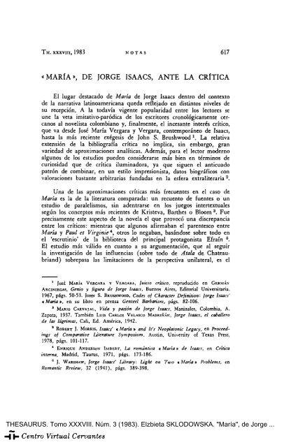 Maria De Jorge Isaacs Ante La Critica Centro Virtual Cervantes