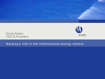 Norway's role in the international energy market Eivind Reiten CEO ...