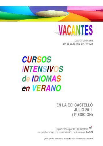 CURSOS INTENSIVOS de IDIOMAS en VERANO - EOI Castelló