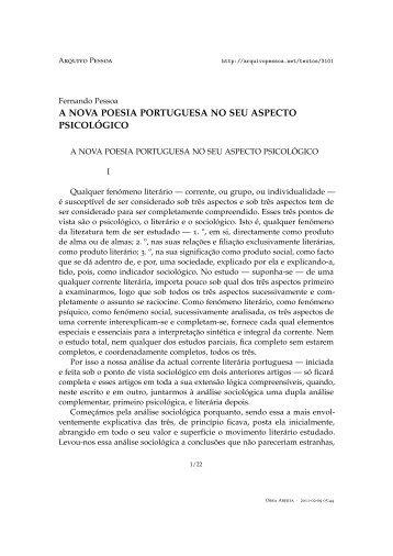 a nova poesia portuguesa no seu aspecto ... - Arquivo Pessoa