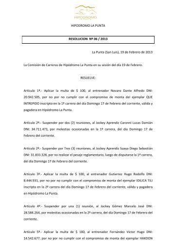 Resolución Nº 6 - Hipodromo La Punta