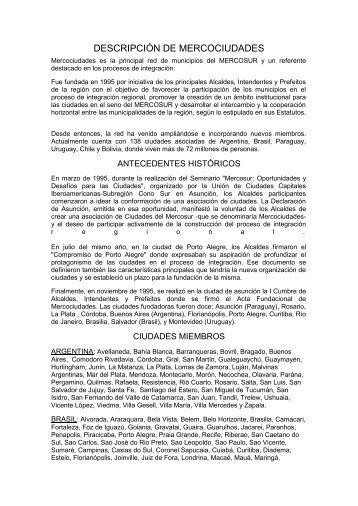 DESCRIPCIÓN DE MERCOCIUDADES - Gobierno de la Provincia ...