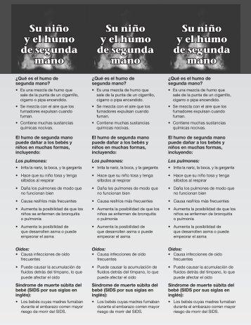 Your Child and Secondhand Smoke Bookmark Spanish