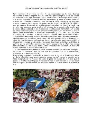 LOS ANTIOXIDANTES - MARIA CASAS Biòloga