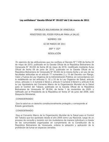 """Ley antitabaco"""" Gaceta Oficial N° 39.627 del 2 ... - Seguros Caracas"""