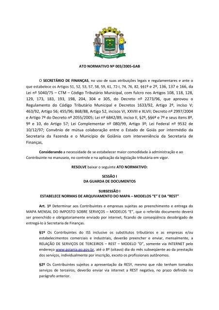 Lei nº 5040/75 – CTM – Código Tributário Municipal, com fulcro nos ...