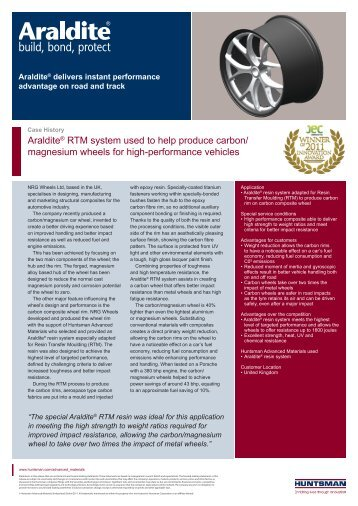 Araldite® RTM system used to help produce carbon/ magnesium ...