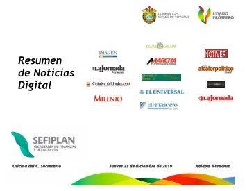 Resumen de Noticias Digital - Secretaría de Finanzas y Planeación