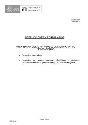 INSTRUCCIONES Y FORMULARIOS - Agencia Española de ...