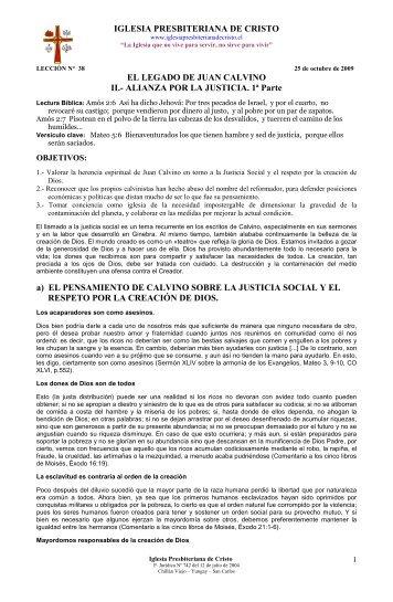 38 / 2009 EL LEGADO DE JUAN CALVINO - II. - Iglesia ...
