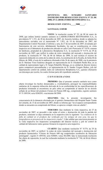 sentencia del sumario sanitario instruido por resolucion exenta n ...