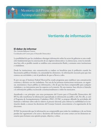 Vertiente de información - Instituto Federal Electoral