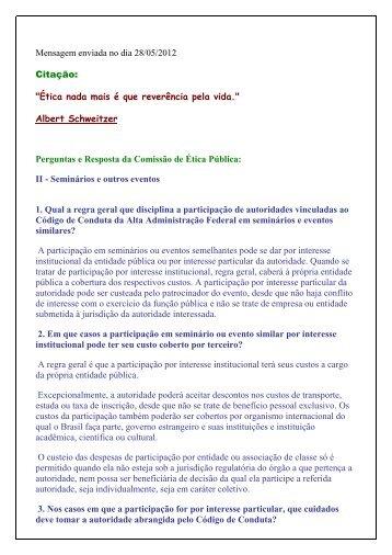 """Mensagem enviada no dia 28/05/2012 Citação: """"Ética nada ... - Funag"""