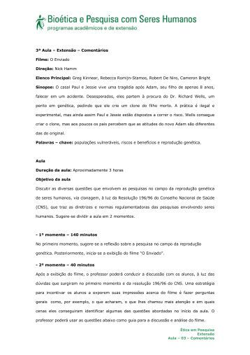 3ª Aula – Extensão – Comentários Filme: O Enviado Direção ... - Anis