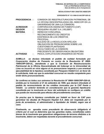resolucion nº 0091-2000/tdc-indecopi