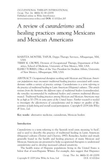 A review of curanderismo and healing practices among Mexicans ...
