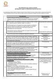 Procedimiento para realizar el trámite del Depósito Legal - Care Perú
