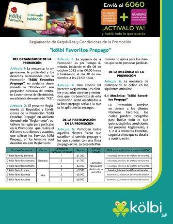 """""""kölbi Favoritos Prepago"""" - Grupo ICE"""