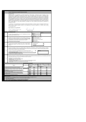 Questionario enviado Consultores - Pesquisa Nacional de Saúde ...