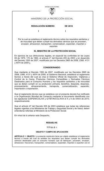 Reglamento Técnico Carne - Porcino - Ministerio de Salud y ...
