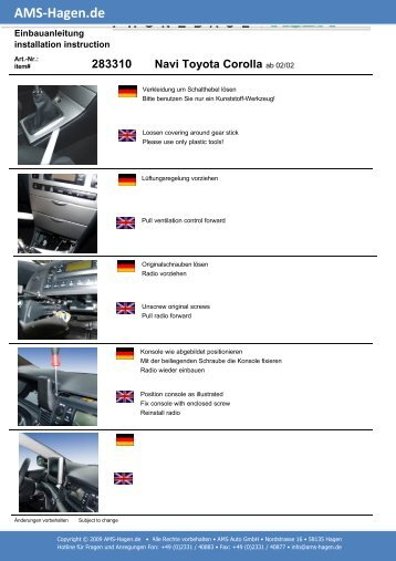 Navi Toyota Corolla - AMS Hagen