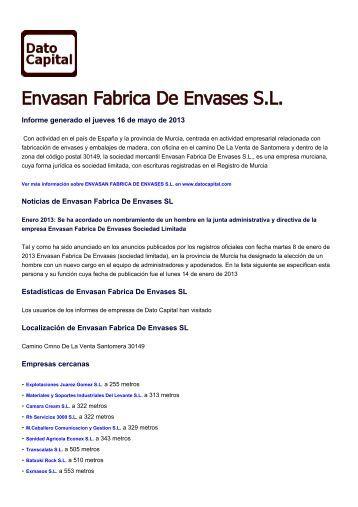 Envasan Fabrica De Envases SL, España - Dato Capital