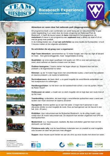 Adventure en varen door het nationale park ... - VVV Oosterhout