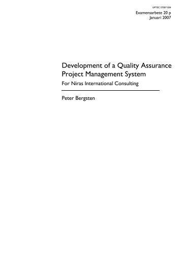 Development of a Quality Assurance Project Management System