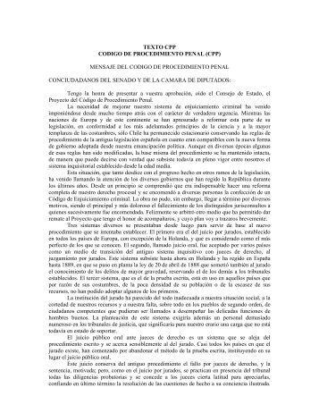 TEXTO CPP CODIGO DE PROCEDIMIENTO PENAL (CPP ...