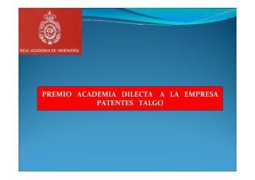 PREMIO ACADEMIA DILECTA A LA EMPRESA PATENTES TALGO