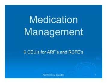 6 CEU's for ARF's and RCFE's - Assisted Living Education