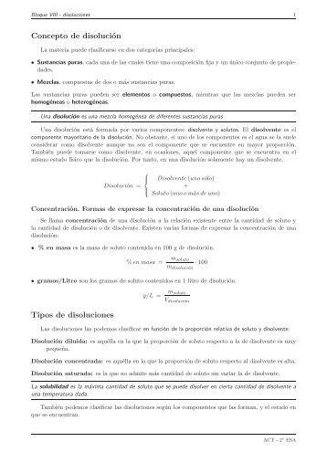 Concepto de disolución Tipos de disoluciones - IES Alminares