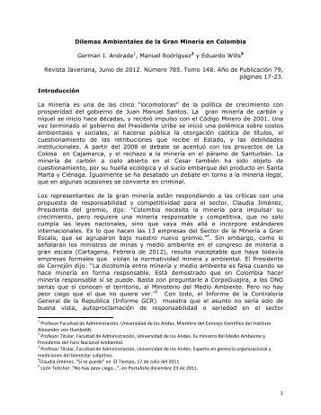 Dilemas Ambientales de la Gran Minería en Colombia - Manuel ...