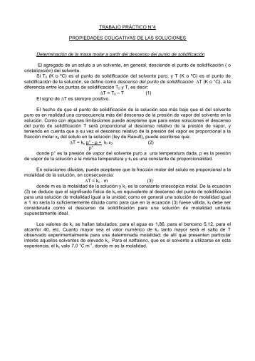 TRABAJO PRÁCTICO N°4 PROPIEDADES COLIGATIVAS DE LAS ...