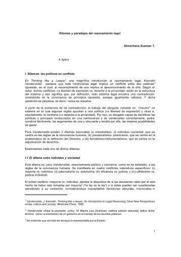 1 Dilemas y paradojas del razonamiento legal Shoschana Zusman ...