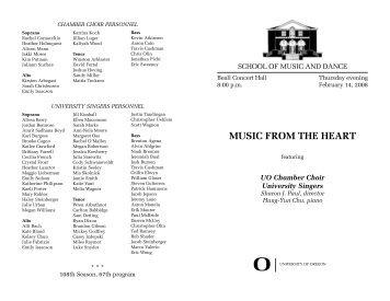 chamber choir personnel - School of Music - University of Oregon