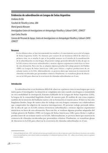 Evidencias de subordinación en Lengua de Señas ... - Congreso