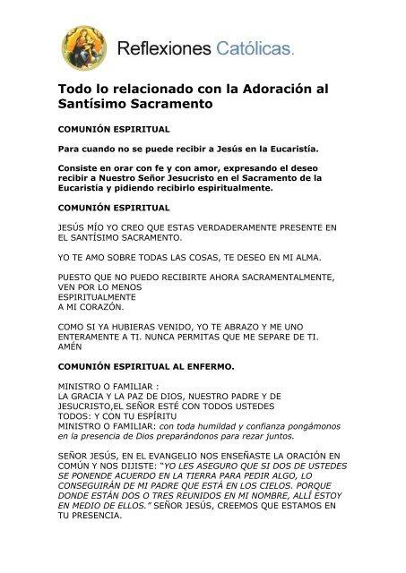 Adoración Al Santísimo Sacramento Reflexiones Católicas